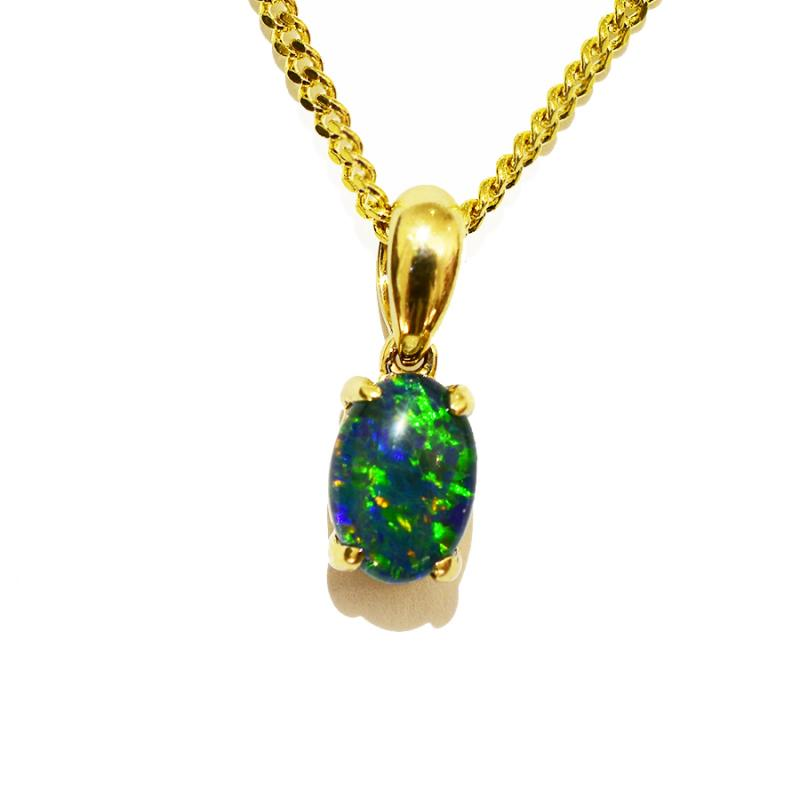 10K Yellow Gold Black Triplet Opal Necklace 10KY-OPT0153(7X5)