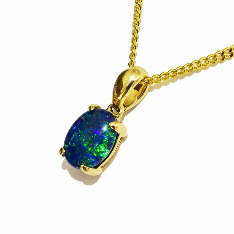 10K  Yellow Gold Black Triplet Opal Necklace 10KY-OPT0154(8x6)