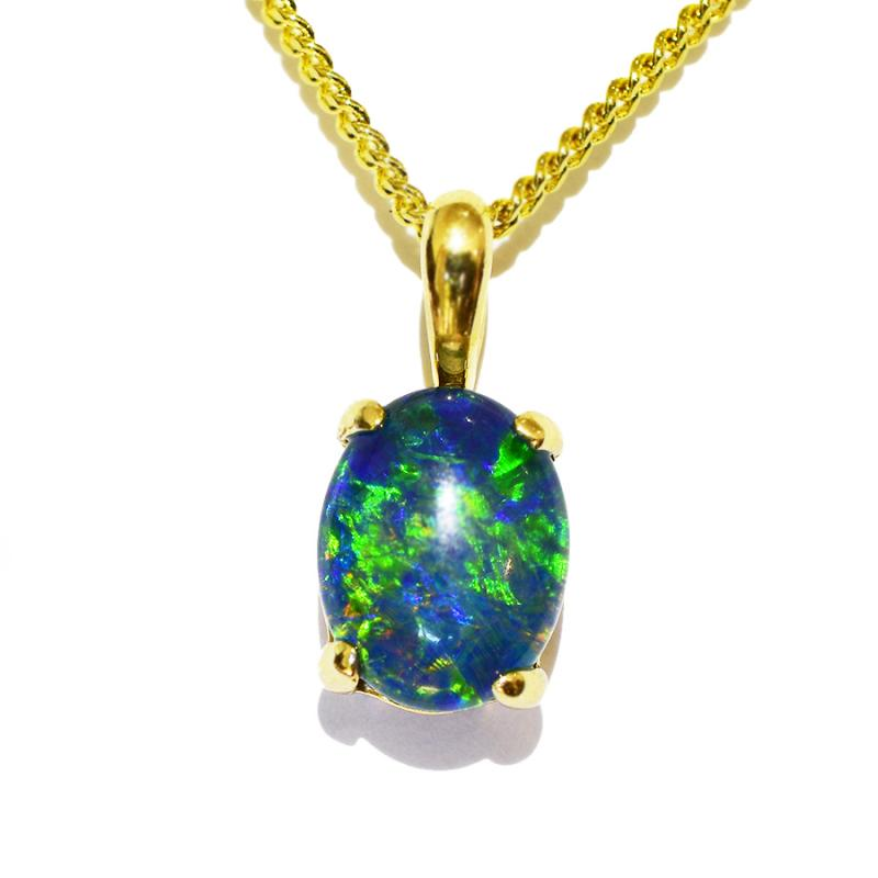10K Yellow Gold Black Triplet Opal Necklace 10KY-OPT0155(9x7)1