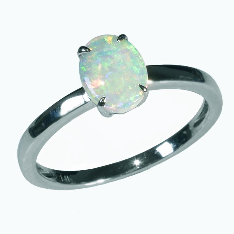 14K White Gold Solid Crystal OPAL RING 14KW-011S1 (SIZE O/7)