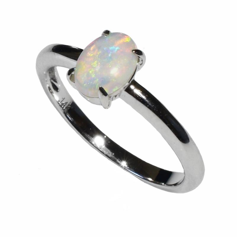 14K White Gold Solid Crystal OPAL RING 14KW-041S2 (SIZE M/6)