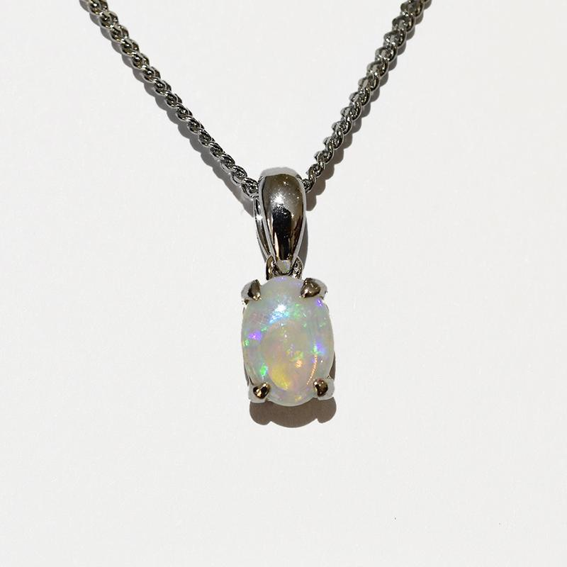 14K  White Gold Crystal Opal Necklace 14KW-OPS0153(7X5)