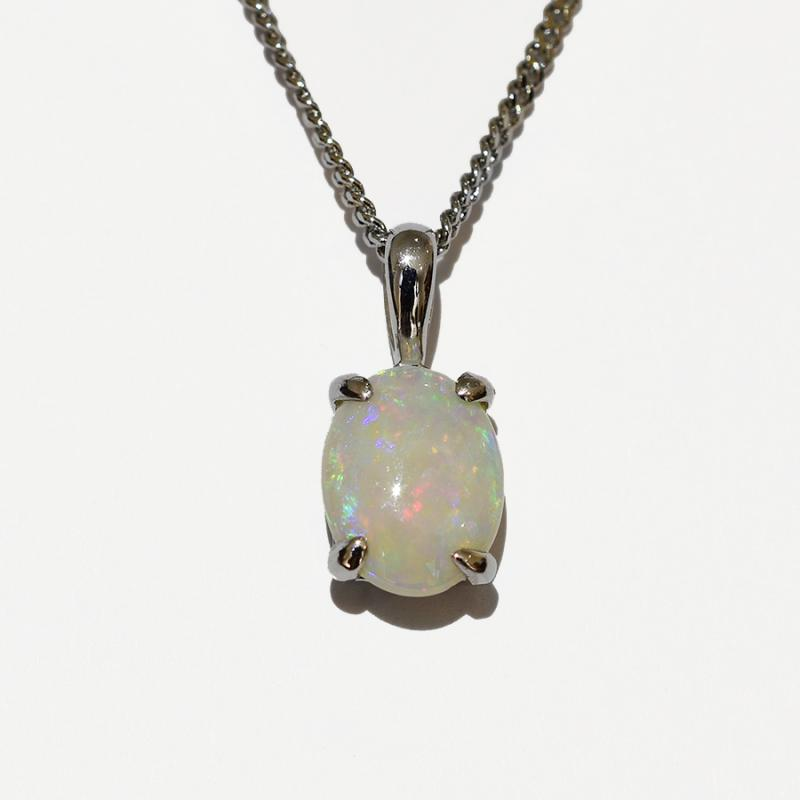 14K  White Gold Crystal Opal Necklace 14KW-OPS0155(9x7)