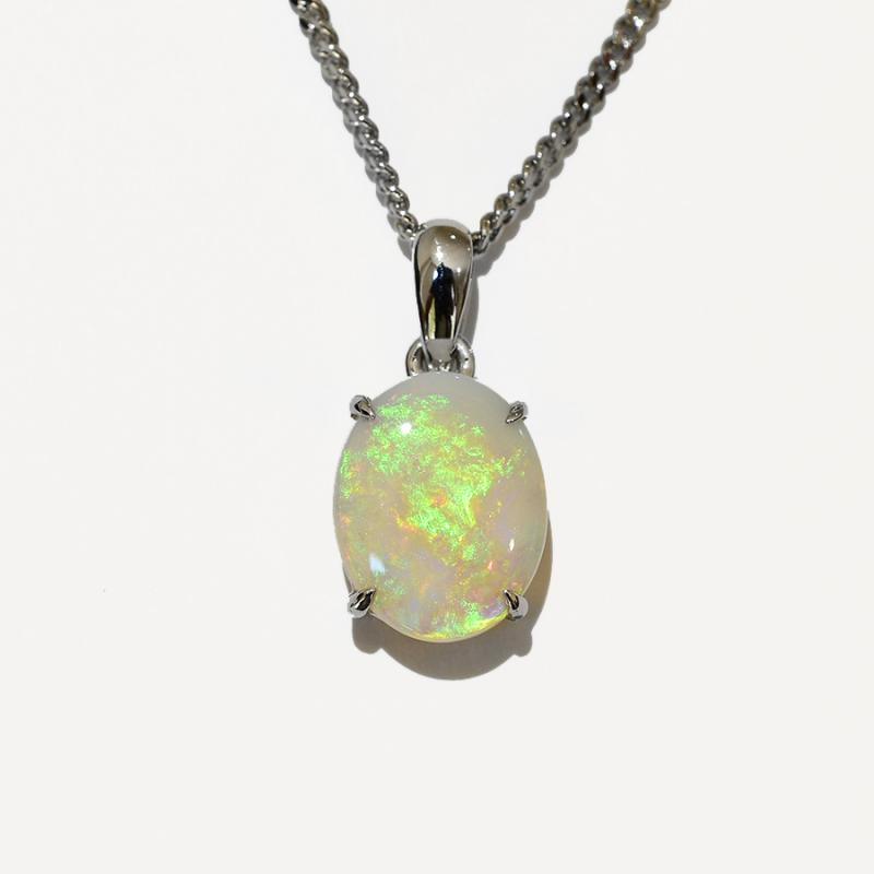 14K  White Gold Crystal Opal Necklace 14KW-OPS0156(10x8)