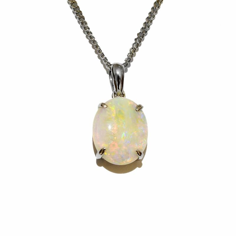 14K  White Gold Crystal Opal Necklace 14KW-OPS107(11x9)