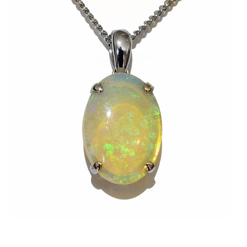 14K  White Gold Crystal Opal Necklace 14KW-OPS109(14x10)