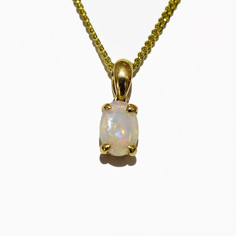 14K  Yellow Gold Crystal Opal Necklace 14KY-OPS0153(7X5)