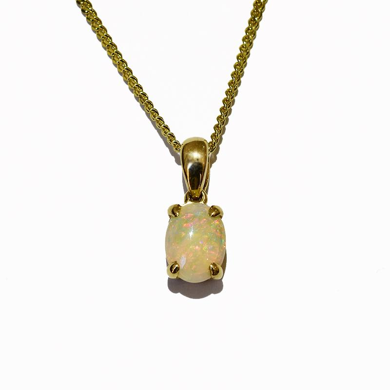 14K  Yellow Gold Crystal Opal Necklace 14KY-OPS0154(8x6)