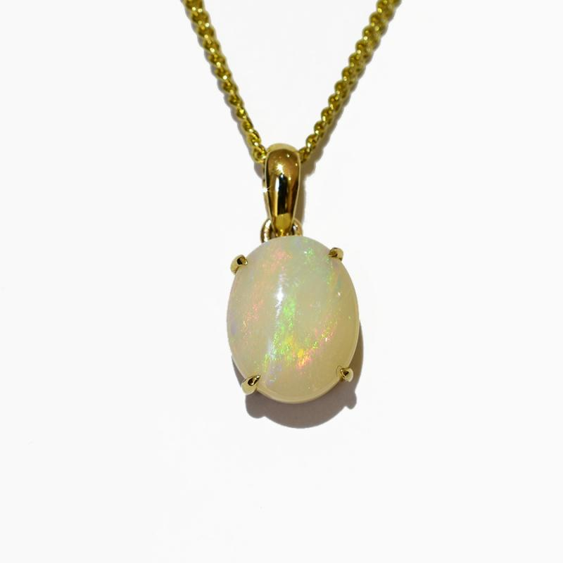 14K  Yellow Gold Crystal Opal Necklace 14KY-OPS0156(10x8)