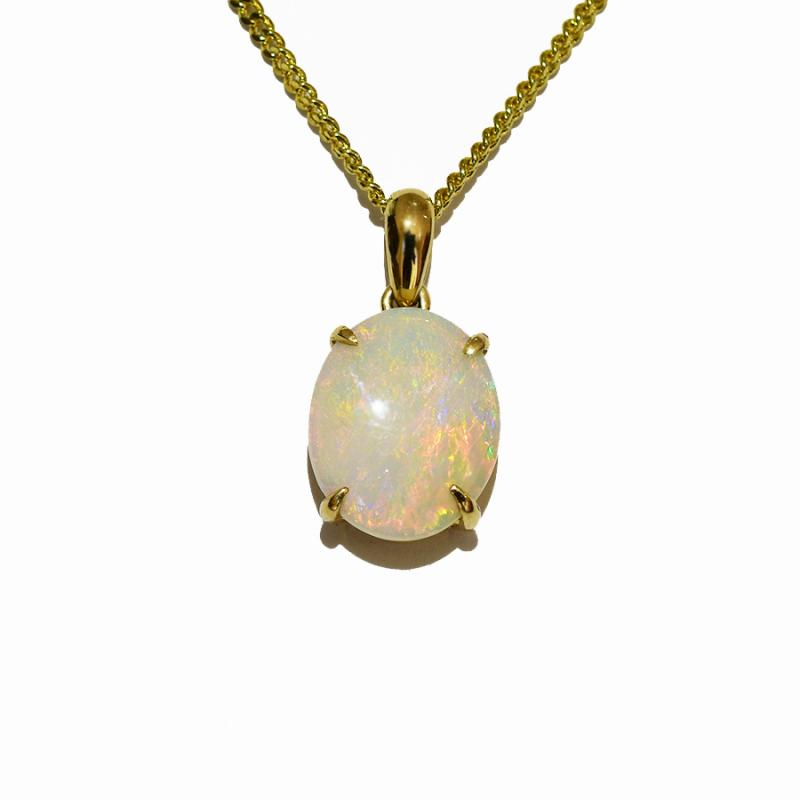 14K Yellow Gold Crystal Opal Necklace 14KY-OPS107(11x9)