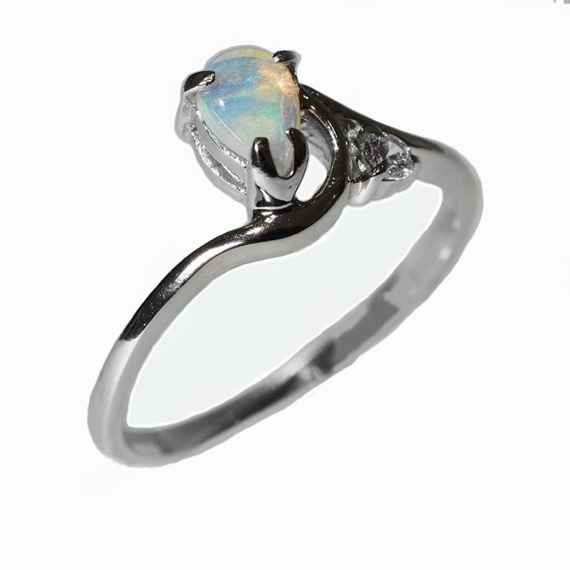 STERLING SILVER Solid Crystal OPAL RING 17R-SR (SIZE N/6.5)