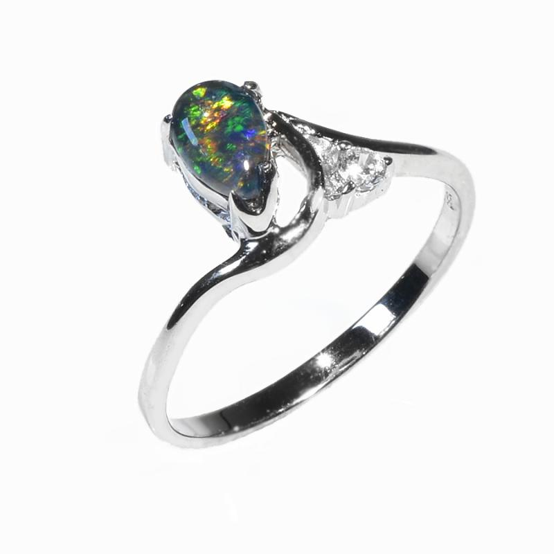 Sterling Silver Black Triplet Opal Ring 17R-TR (Size L or 5.5)