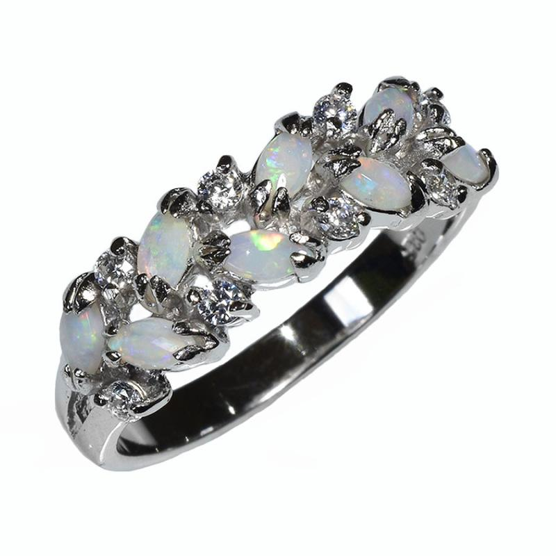 Sterling Silver Solid Light Multi-Opal Ring 20R-SR (size P/7.5)