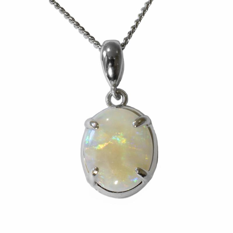 Solid Opal Sterling Silver Necklace  (28P-SR11X9)