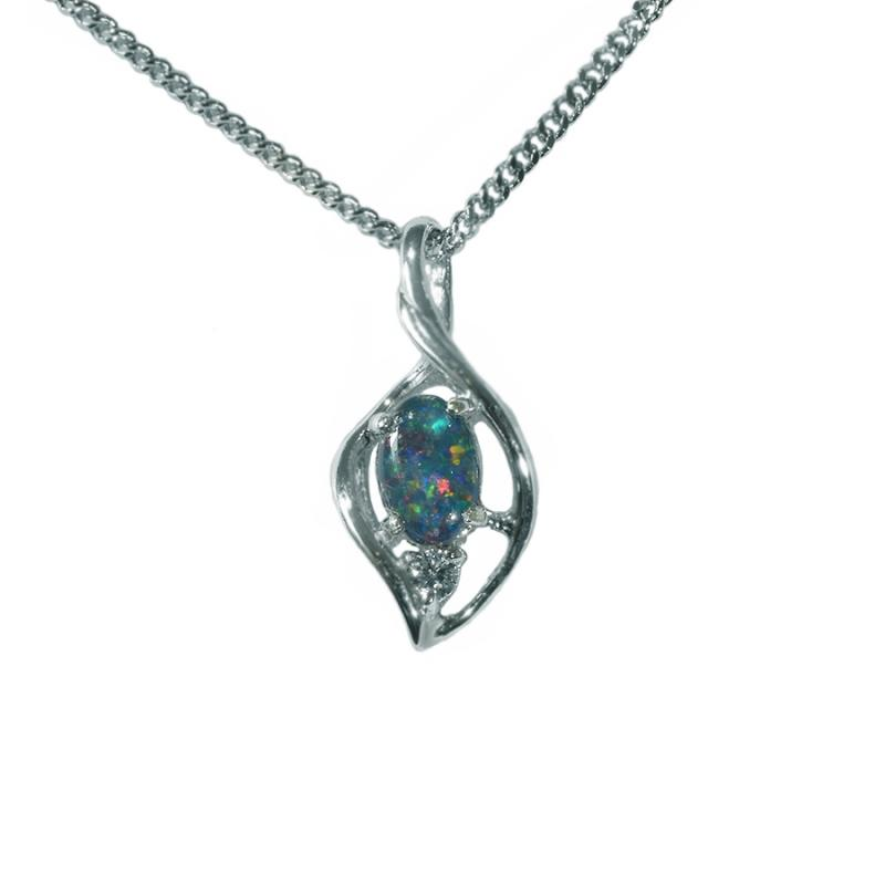 Triplet Opal Sterling Silver Necklace  29P TR 6x4