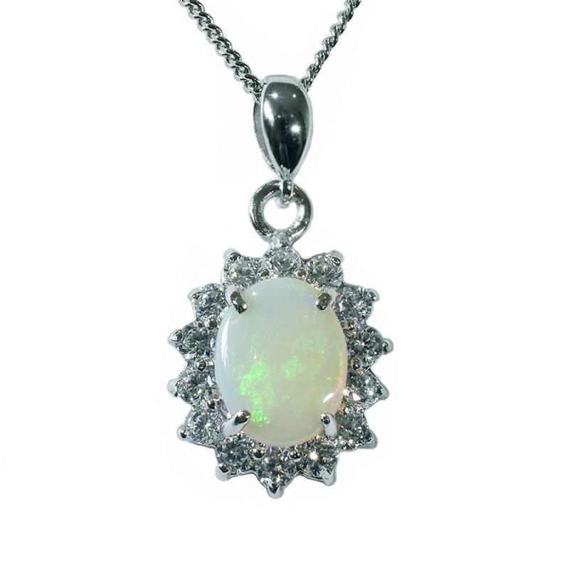 Solid Opal Sterling Silver Necklace 35P-10X8SR