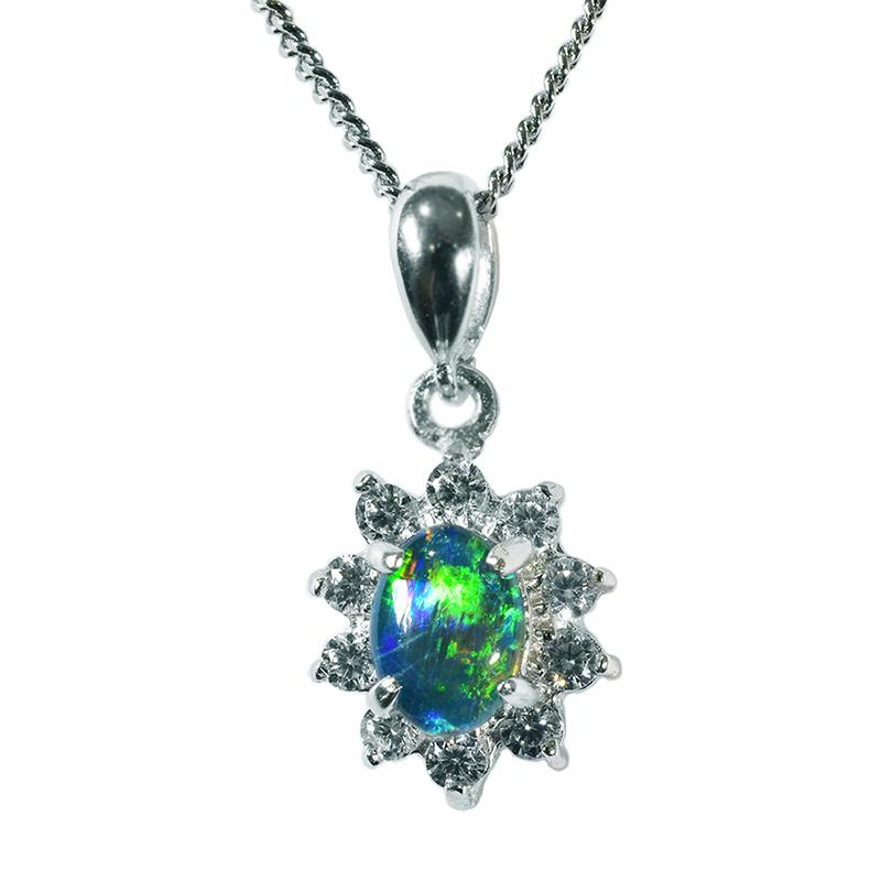 Triplet Opal Sterling Silver Necklace  35P-7X5TR