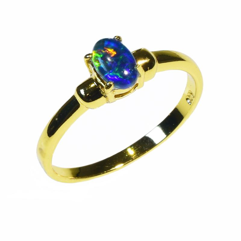 Sterling Silver Black Triplet Opal Ring 45R-TG 18k GP (Size L or 5.5)