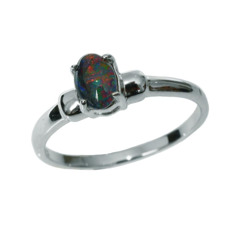 Sterling Silver Black Triplet Opal Ring 45R-TR6x4(size 6)