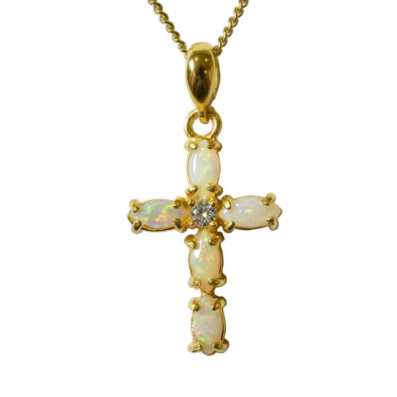 Australian Solid Opal Sterling Silver Cross Necklace 18K GP 47P-SG-6x3