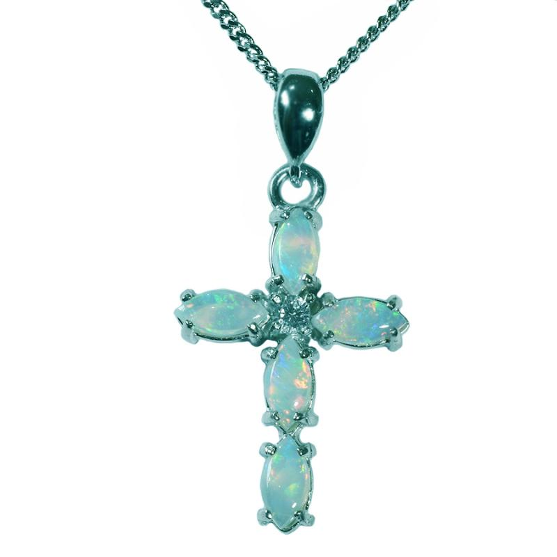 Australian Solid Opal Sterling Silver Cross Necklace 47P-SR-6x3