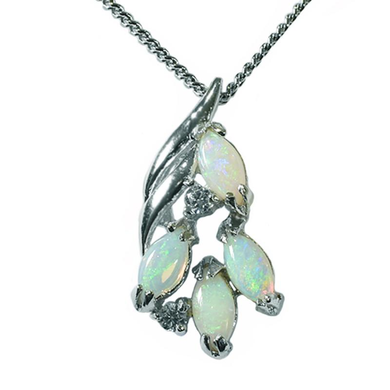 Solid Opal Sterling Silver Necklace 53P SR (6x3)