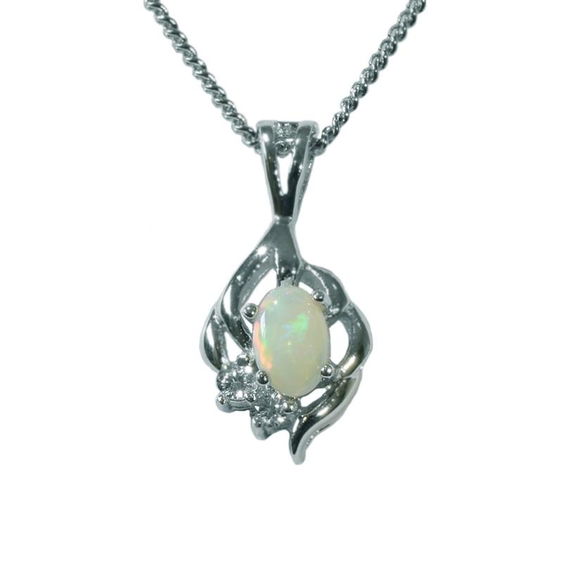 Solid Opal Sterling Silver Necklace  54P-SR 6x4