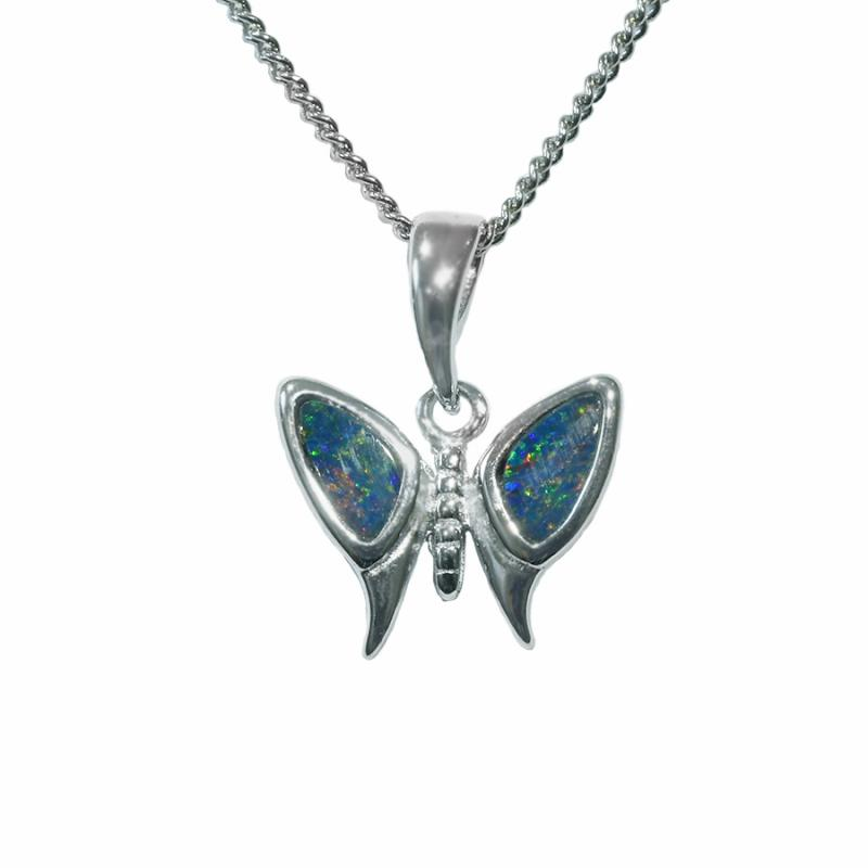 Boulder Doublet Opal Sterling Silver Butterfly Necklace 61P-DR