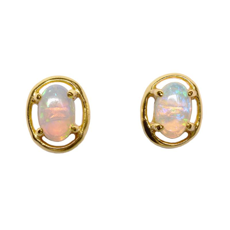Solid Light Opal Sterling Silver Earrings 18K GP (70E-SG6X4)