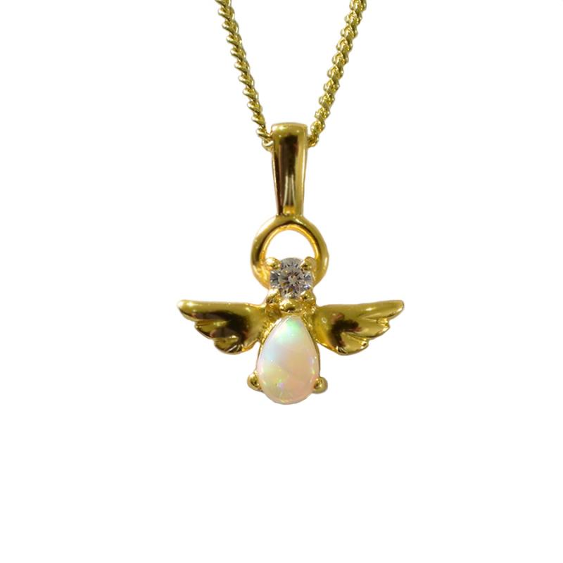 Solid Opal Sterling Silver Angel Necklace 18K GP 72P-SG6x4D