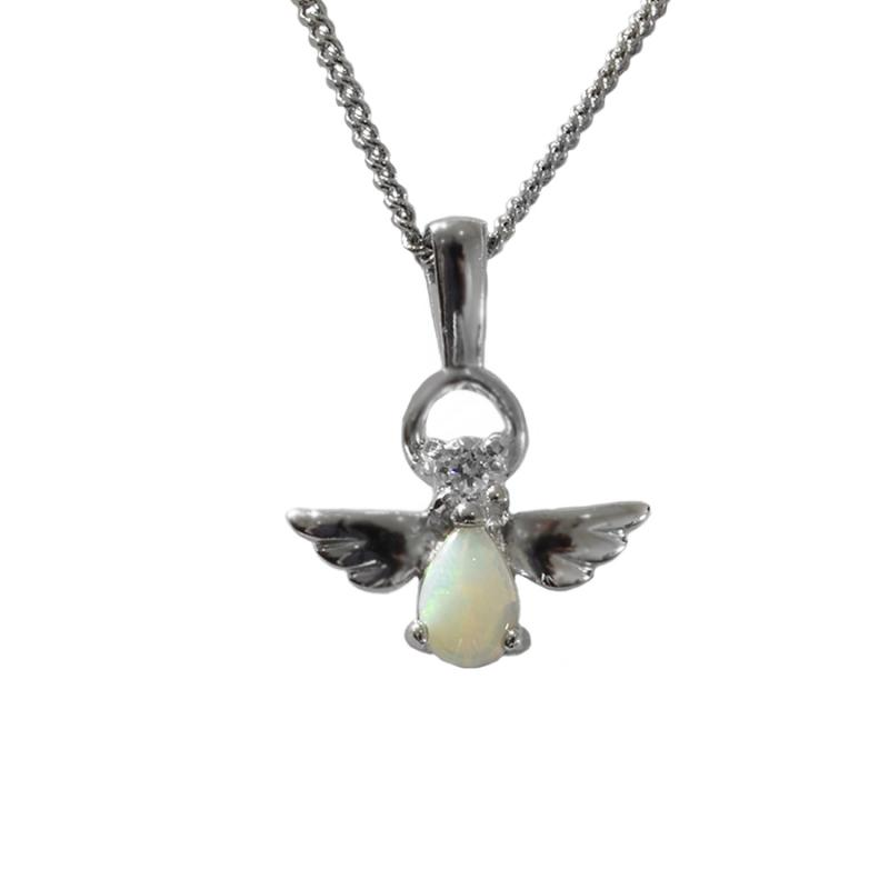Solid Opal Sterling Silver Angel Necklace  72P-SR6x4D
