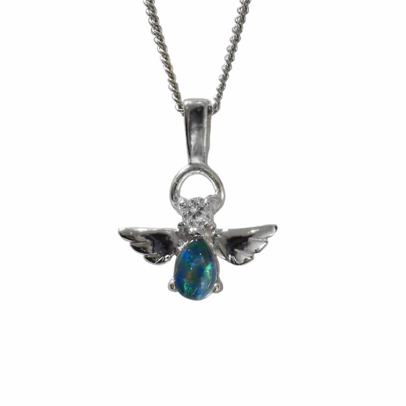 Black Triplet Opal Sterling Silver Angel Necklace 72P-TR6x4D