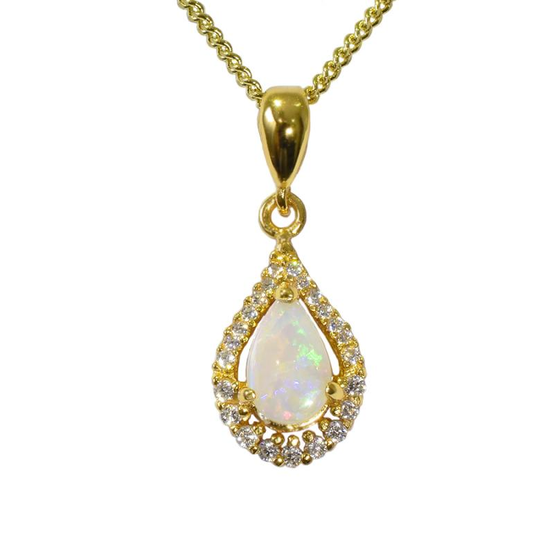 Solid Opal Sterling Silver Necklace 18K GP 76P-SG 8x5D