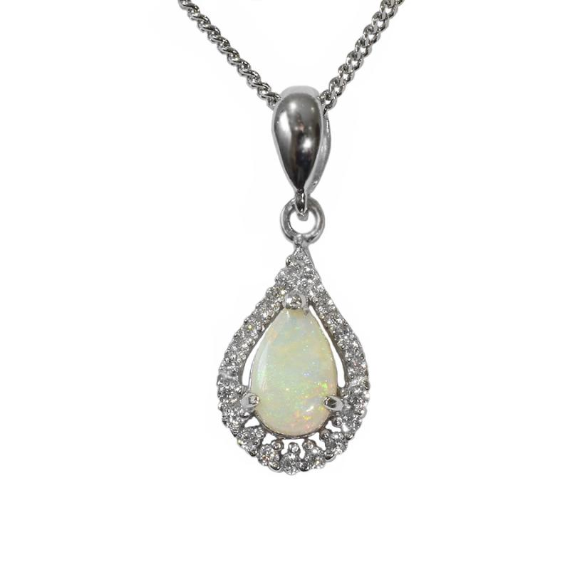 Solid Opal Sterling Silver Necklace 76P-SR 8x5D