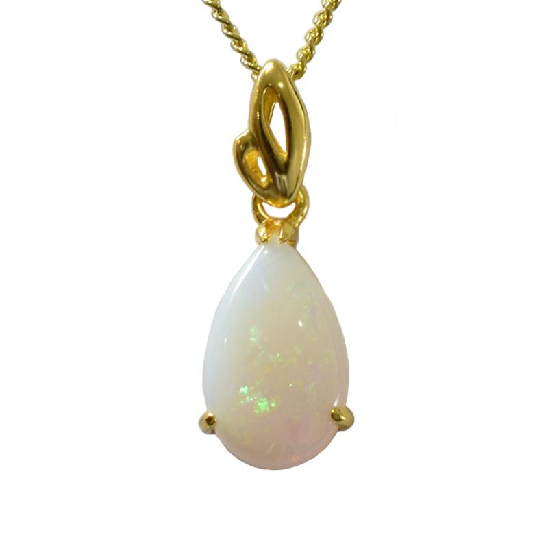Natural Solid Opal Sterling Silver Necklace 18K GP (80P-SG13x8D)