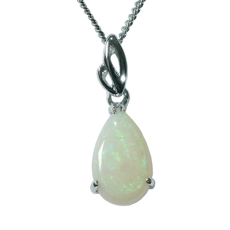 Solid Light Opal Sterling Silver Necklace  (80P-SR13x8D)