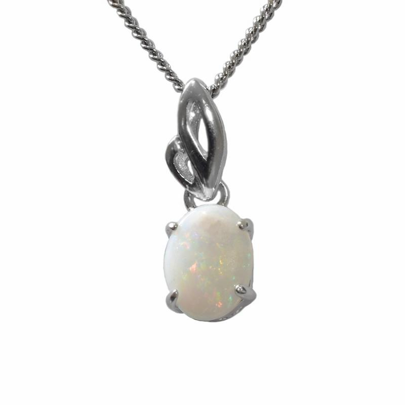 Sterling Silver Solid Light Opal Necklace  (81P-SR8x6)