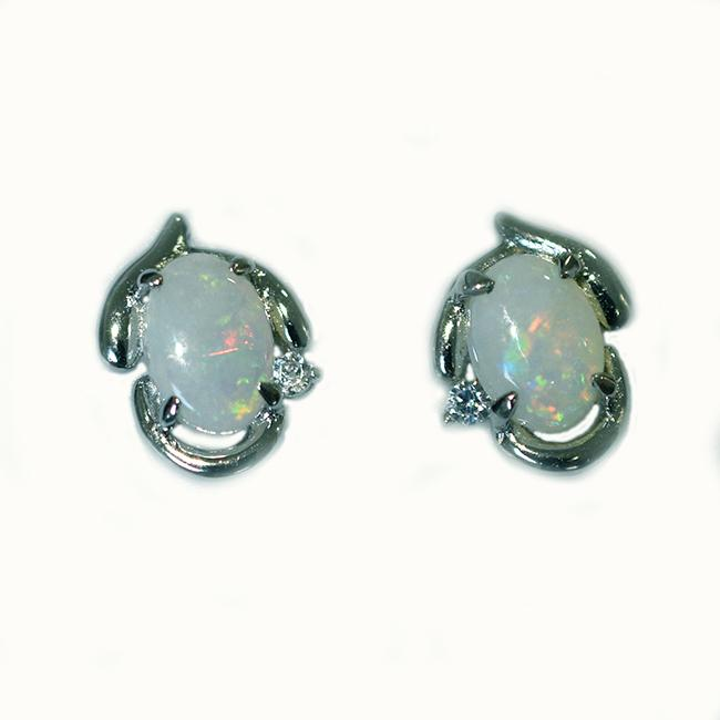 Sterling Silver Solid Light Opal Earrings OE0011SR (7×5)