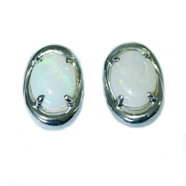 Sterling Silver Solid Light Opal Earrings OE0023SR (9×7)