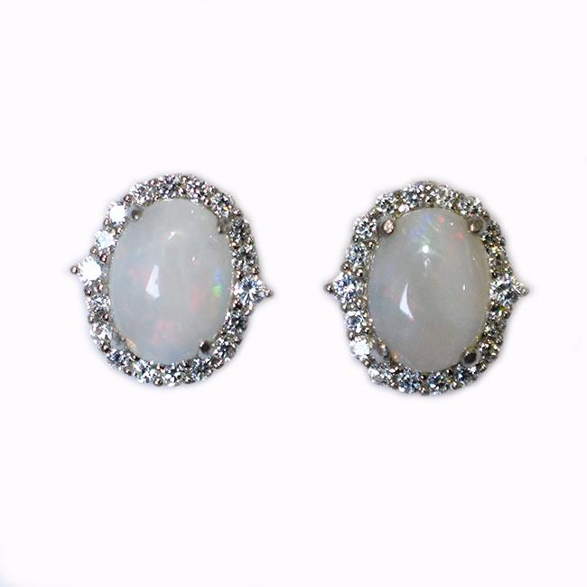 Sterling Silver Solid Light Opal Earrings OE0100SR (8×6)