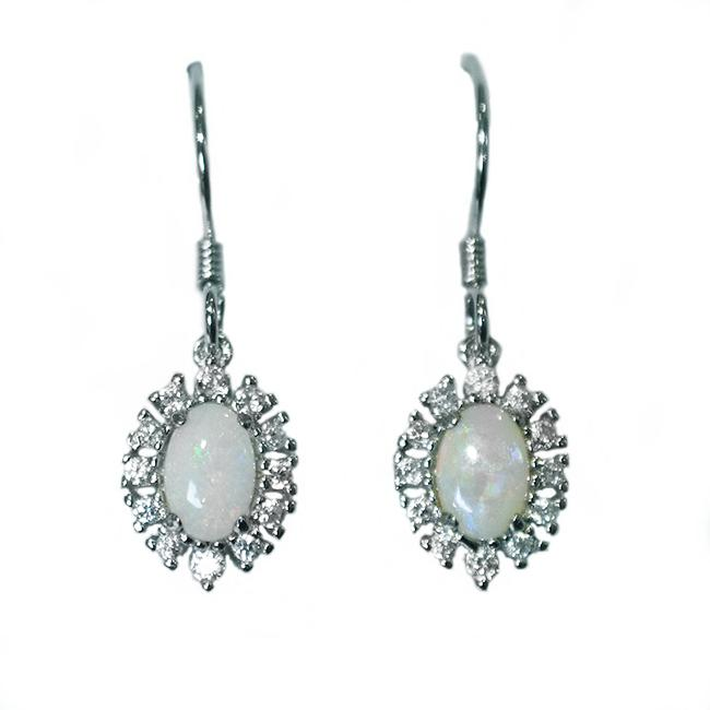 Sterling Silver Solid Light Opal Earrings OE0104SR (6×4)