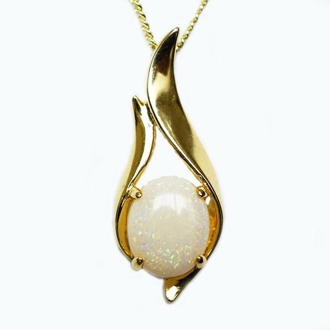 Solid Light Opal Sterling Silver Necklace 18K GP OP0030SG (11×9)