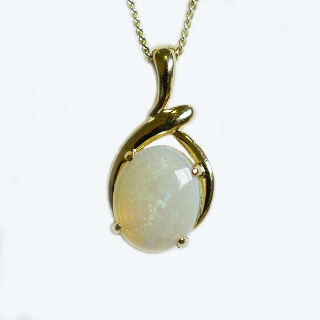 Solid Light Opal Sterling Silver Necklace 18K GP OP0037SG (12×10)