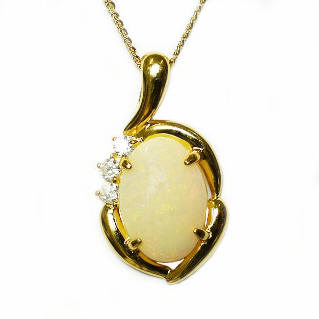 Solid Light Opal Sterling Silver Necklace 18K GP OP0042SG (14×10)