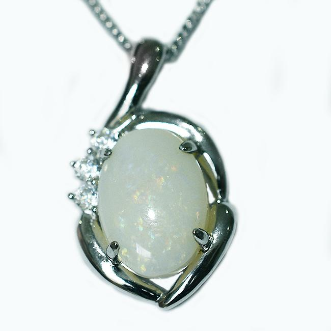 Solid Light Opal Sterling Silver Necklace OP0042SR (14×10)