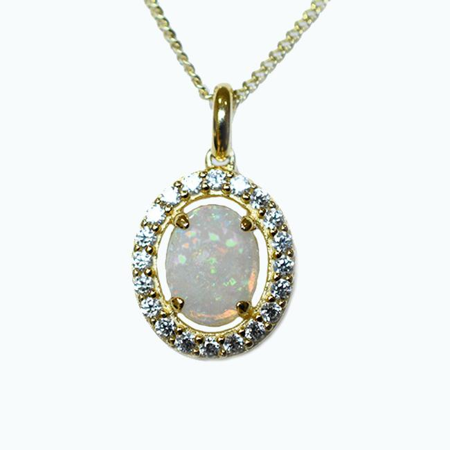 Solid Light Opal Sterling Silver Necklace 18K GP OP0063SG (9×7)