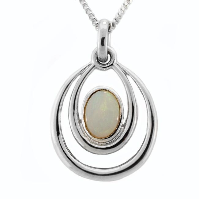 Solid Light Opal Sterling Silver Necklace OP0072SR (7×5)
