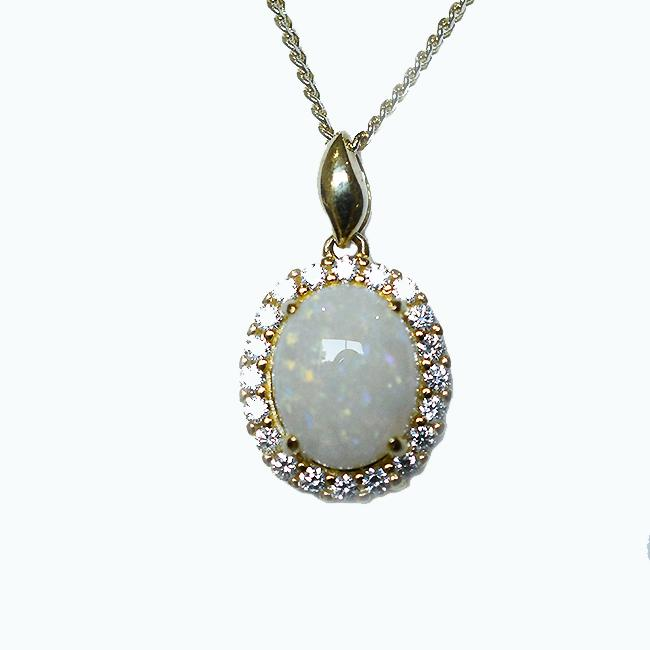 Solid Light Opal Sterling Silver Necklace 18K GP OP0076SG (10×8)