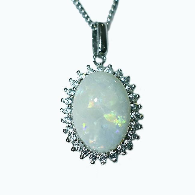 Solid Light Opal Sterling Silver Necklace OP0077SR (14×10)