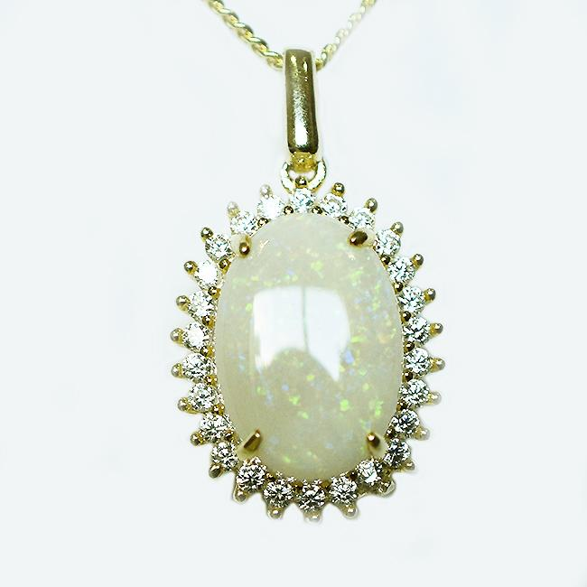 Solid Light Opal Sterling Silver Necklace 18K GP OP0077SG (14×10)